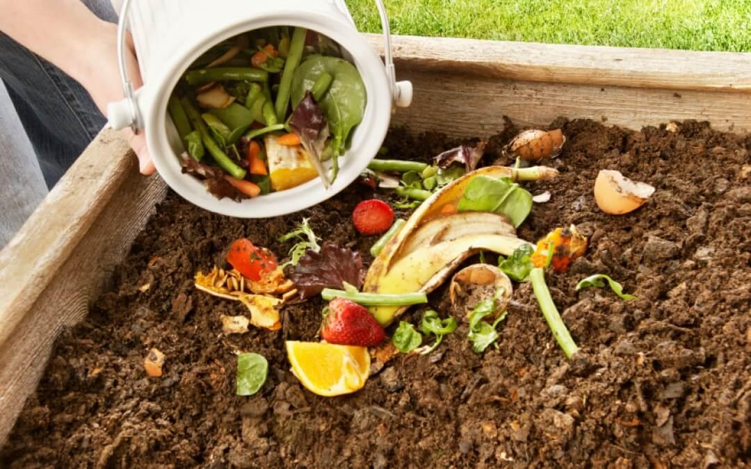 Compost in de moestuinbak